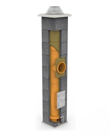 System kominowy KRUK UNIVERSAL 5M - poczwórna wentylacja - trójnik 90°