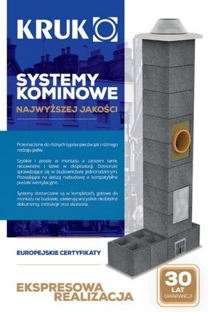 System kominowy KRUK UNIVERSAL 9M - bez wentylacji - trójnik 45°